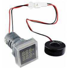 Цифровий ампер-вольтметр змінного струму  ED16-22 FVAD 0-100A, 25-500В (білий) квадратний АСКО A0190010047