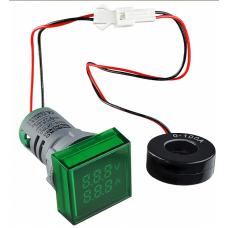 Цифровий ампер-вольтметр змінного струму  ED16-22 FVAD 0-100A, 25-500В (зелений) квадратний АСКО A0190010049