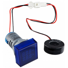 Цифровий ампер-вольтметр змінного струму  ED16-22 FVAD 0-100A, 25-500В (синій) квадратний АСКО A0190010132