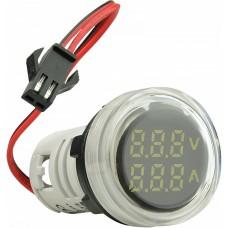 Цифровий ампер-вольтметр змінного струму  ED16-22 VAD 0-100A, 25-500В (білий) круглий АСКО A0190010133