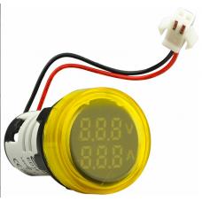 Цифровий ампер-вольтметр змінного струму  ED16-22 VAD 0-100A, 25-500В (жовтий) круглий АСКО A0190010134