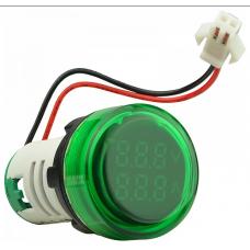 Цифровий ампер-вольтметр змінного струму  ED16-22 VAD 0-100A, 25-500В (зелений) круглий АСКО A0190010135