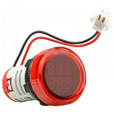 Цифровий ампер-вольтметр змінного струму  ED16-22 VAD 0-100A, 25-500В (червоний) круглий АСКО A0190010136