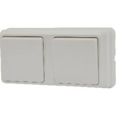 Блок - два одноклавишных выключателя зовн. 2ВЗ10-10-Cb-W АСКО