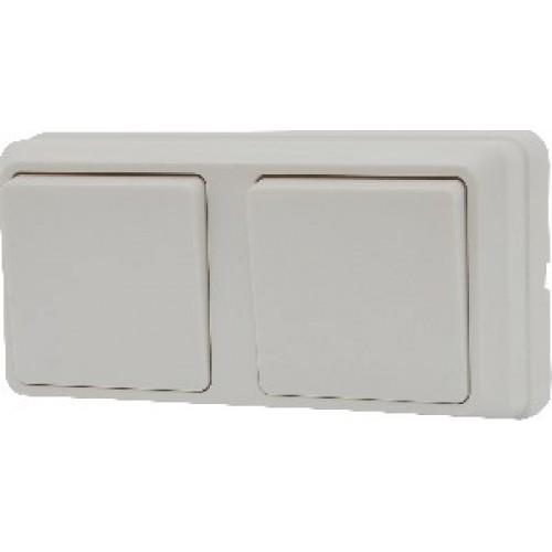 Блок - два одноклавішних вимикача зовн. 2ВЗ10-10-Cb-W АСКО