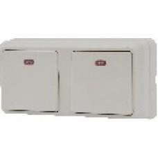 Блок - два одноклавишных выключателя с подсветкой зовн. 2ВЗ10-11-Cb-W АСКО