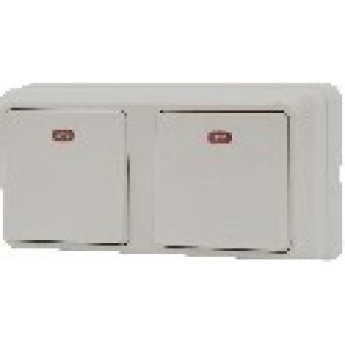 Блок - два одноклавішних вимикача з підсвічуванням зовн. 2ВЗ10-11-Cb-W АСКО