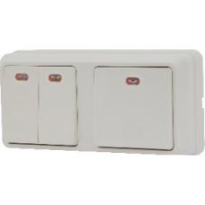 Блок - два выключателя с подсветкой (1 одноклавишный + 1 двоклавишный) зовн. 2ВЗ10-121-Cb-W АСКО
