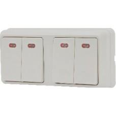 Блок - два двоклавішних выключателя с подсветкой зовн. 2ВЗ10-21-Cb-W АСКО