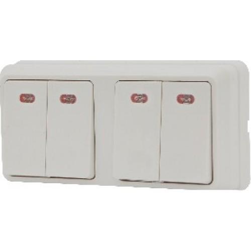 Блок - два двоклавішних вимикача з підсвічуванням зовн. 2ВЗ10-21-Cb-W АСКО
