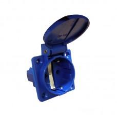 Розетка (гніздо) врізна ГВ 16А/2 (220В) 2Р+РЕ (312) синя АСКО A0080030012