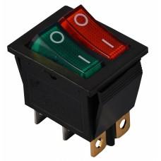 KCD2-2101N GR+R/B 220V Перемикач 2 клав. зелений+червоний з підсвічуванням АСКО A0140040111