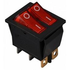 KCD2-2101N R/B 220V Перемикач 2 клав. червоний з підсвічуванням АСКО A0140040109