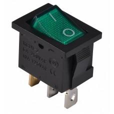 KCD1-2-101N GR/B  220V Перемикач 1 клав. зелений з підсвічуванням АСКО A0140040054