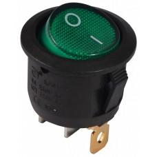 KCD1-5-101N GR/B  220V Перемикач 1 клав. круглий зелений з підсвічуванням АСКО A0140040072