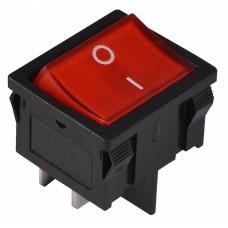 KCD1-6-201N R/B 220V Перемикач 1 клав.  червоний з підсвічуванням АСКО A0140040082