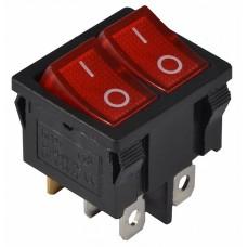 KCD1-6-2101N R/B 220V Перемикач 2 клав. червоний з підсвічуванням АСКО A0140040084