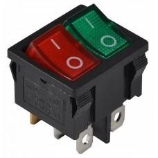KCD1-6-2101N GR+R/B 220V Перемикач 2 клав. зелений+червоний з підсвічуванням АСКО A0140040085