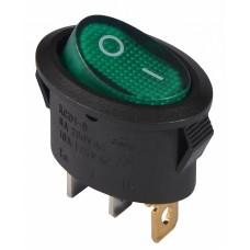 KCD1-9-101N C3-GR/B 220V Перемикач 1 клав. овал. зелений з підсвічуванням АСКО A0140040088