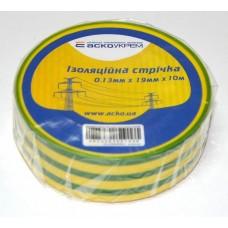 Ізоляційна стрічка 0,13мм х 19мм х 10м жовто-зелена  АСКО A0150020008