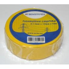 Ізоляційна стрічка 0,13мм х 19мм х 10м жовта  АСКО A0150020033