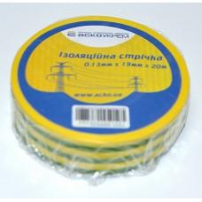 Ізоляційна стрічка 0,13мм х 19мм х 20м жовто-зелена  АСКО A0150020009