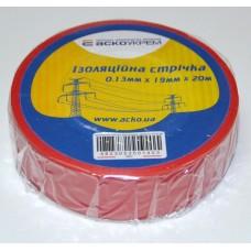 Ізоляційна стрічка 0,13мм х 19мм х 20м червона  АСКО A0150020042