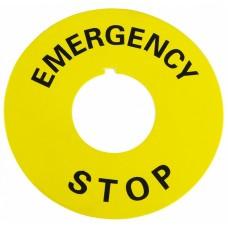 Табличка маркувальна EMERGENCY STOP  жовта кругла для кнопок XB2 АСКО A0140010073