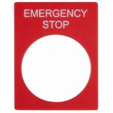 Табличка маркувальна EMERGENCY STOP червона прямокутна для кнопок XB2 АСКО A0140010069