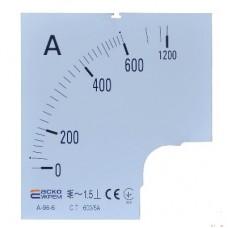 Шкала 800/5А до амперметра  А-72-6 АСКО A0190010076