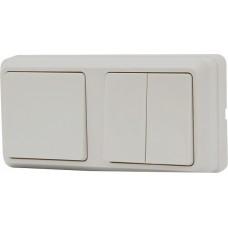 Блок - два выключателя (1 одноклавишный + 1 двоклавишный) зовн. 2ВЗ10-120-Cb-W АСКО