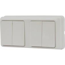 Блок - два двоклавішних выключателя зовн. 2ВЗ10-20-Cb-W АСКО