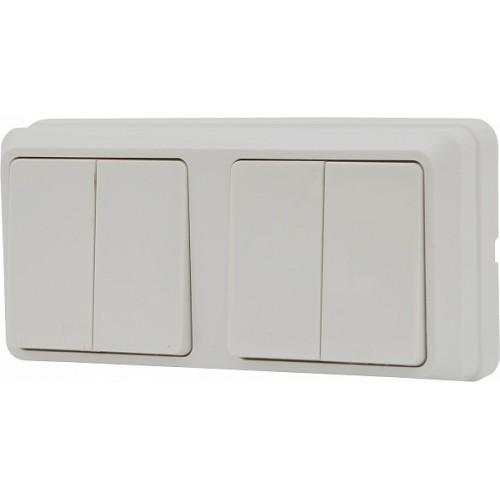 Блок - два двоклавішних вимикача зовн. 2ВЗ10-20-Cb-W АСКО