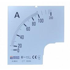 Шкала 100/5А до амперметра А-96-6 АСКО A0190010081
