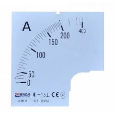 Шкала 200/5А до амперметра А-96-6 АСКО A0190010083