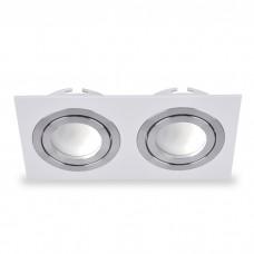 Свiтильник точковий DL6122 MR16 білий , квадрат двойной поворотний G5.3 6347 ФЕРОН 32674