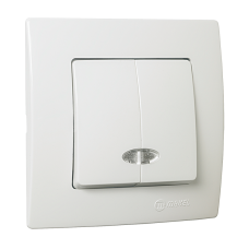 Вимикач 2-клавішний з підсвітленням  білий Lillium Natural Kare MAKEL 32001023
