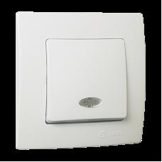 Вимикач1-клавішний з підсвітленням  білий Lillium Natural Kare MAKEL 32001021